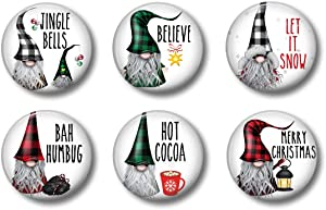 Buffalo Plaid Gnome Christmas Magnets - Red and Black Check - Set of Six 1.75 inch - Farmhouse Decor, Office, Farmhouse Dunn Style Locker Magnets For Teens Home Office or Fridge (Christmas Gnomes)