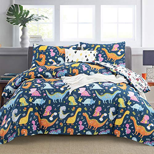ARTALL Dinosaur Kids Duvet Cover Set with Pillowcase, Down Comforter Quilt Cover for Boys Girls Teens with Zipper Closure, Ties, Dinosaur Pattern, White, Twin Size(66