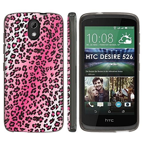[Mobiflare] HTC Desire 526 TPU Silicone Phone Case [Black] Ultraflex Thin Gel Phone Cover - [Pink Leopard Print] for HTC Desire 526 [4.7