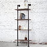 perfect wall ladder bookshelf Industrial-Style 4-Tier Leaning Shelf, Ladder Bookshelf with Metal Pipe & Rustic Wood Shelving