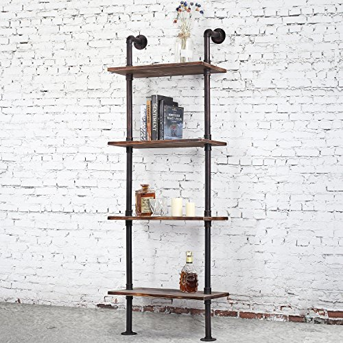 - Industrial-Style 4-Tier Leaning Shelf, Ladder Bookshelf with Metal Pipe & Rustic Wood Shelving
