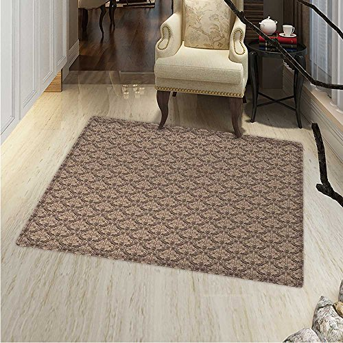 Flower Rug Cocoa (Antique Area Rug Carpet Venetian Vintage Flowers with Swirling Lines Renaissance Revival Curvy Tile Living Dinning Room and Bedroom Rugs 30