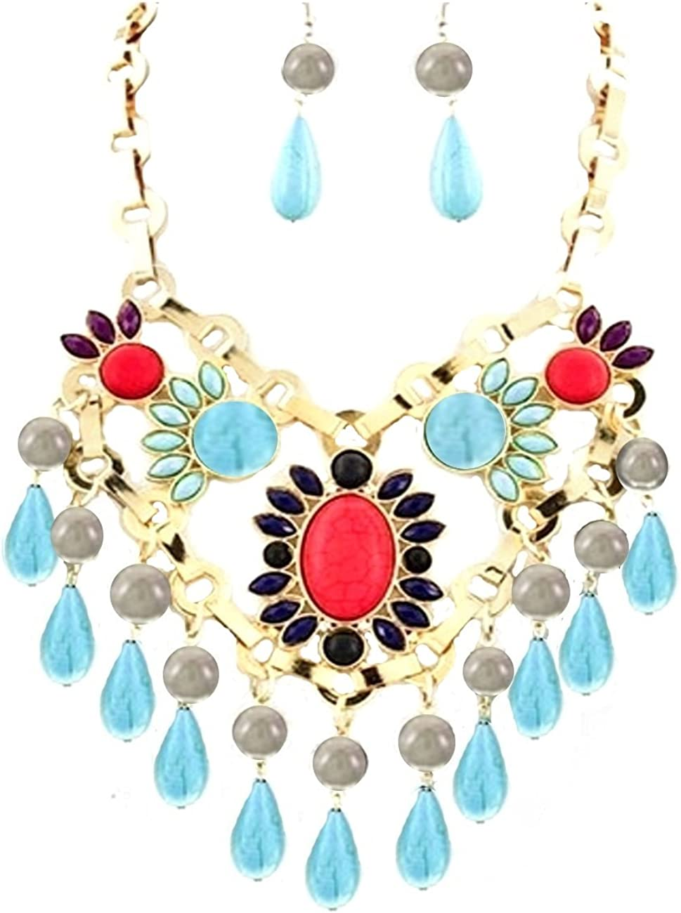 Joyas Ant Symphony mano Luxus Juego de pendientes Dorado joyas piedra piedra natural turquesa Turquoise Rojo Gris Magenta púrpura azul