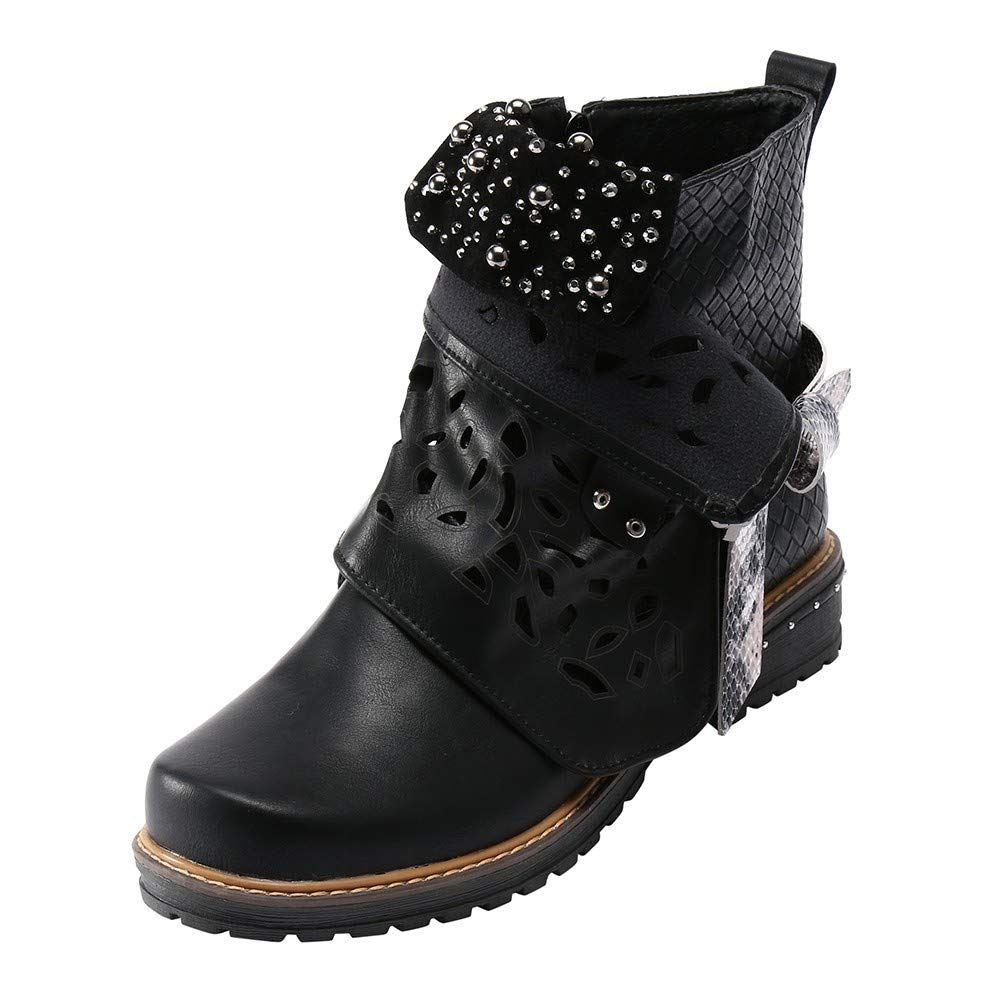 Womens Leather Buckle Hollow-Out Boots Pearl Oxford Boot Side Zipper Cowgirl Combat Boot (Black, US:7.5)