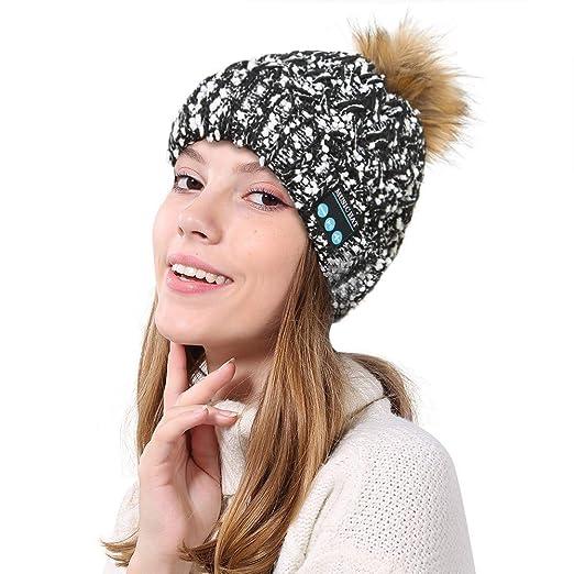 Amazon.com  Women Winter Bluetooth Hat Knit Wireless Smart Novelty ... c1c2f5276a7