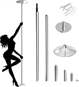 amzdeal Dancing Pole 45mm Spinning Stripper Pole Portable Removable Pole Kit for Beginner Fitness Exercise Club Party Pub Home