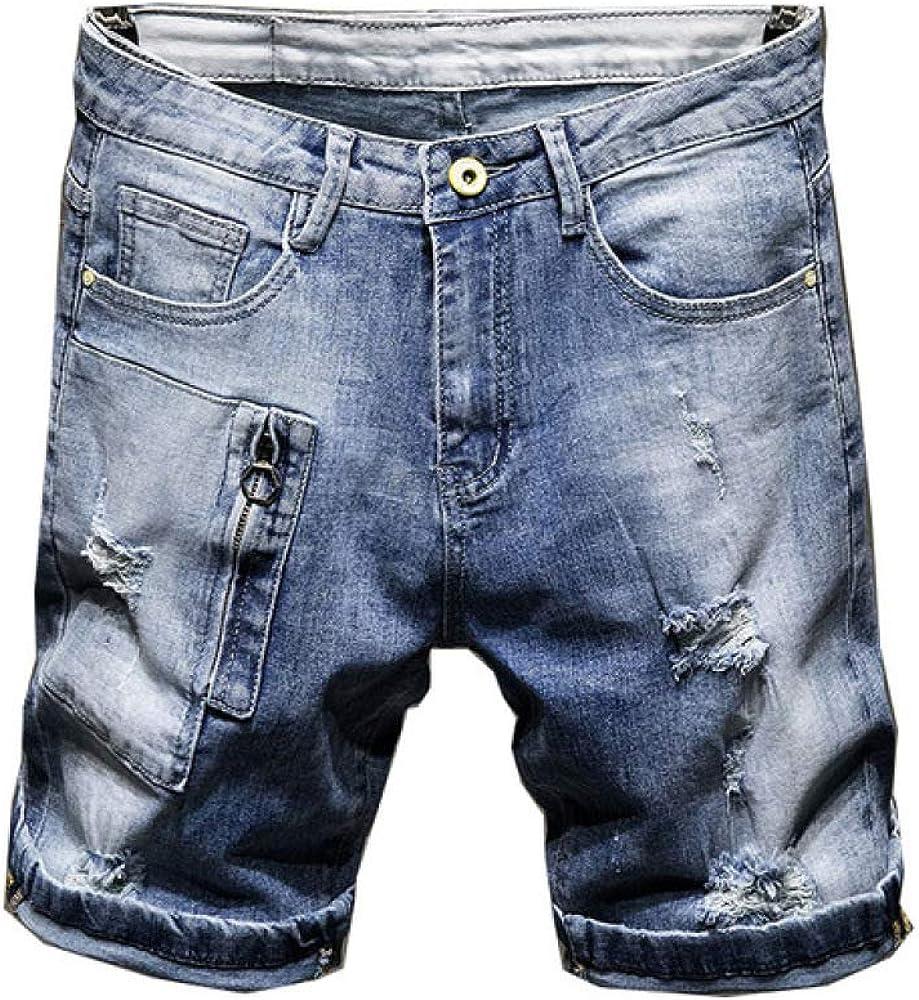 NOBRAND Pantalones cortos de verano para hombre, elásticos, de algodón rasgado, con agujeros rotos, estilo hip hop, color azul claro