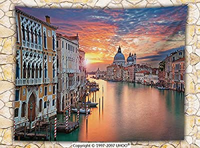 European Cityscape Decor Fleece Throw Blanket Image of Grand Canal in Venice Horizon European Town International Heritage Urban Throw Multi