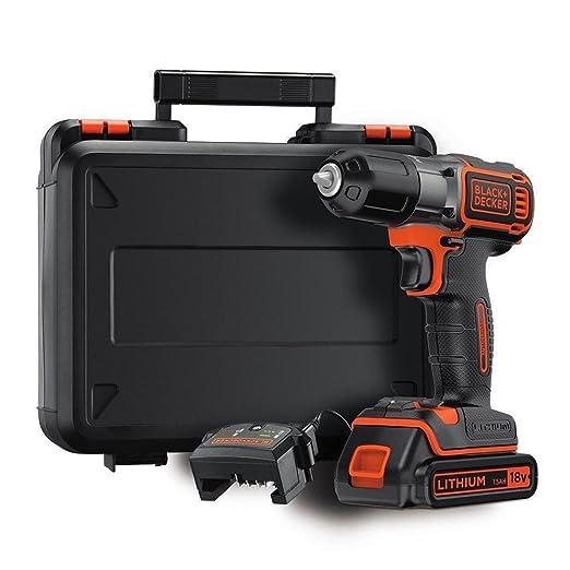 Black+Decker ASD184K Autosense - Taladradora inalámbrica (18 V, batería de ion de litio de 1,5 Ah, con cargador y maletín)