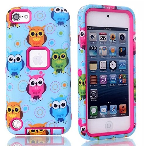 Noarks ® iPod Touch 5 Case - Owl Print Shockproof Armor Combo Case with Plastic + Silicone for Apple iPod Touch 5 (Owl Rose)