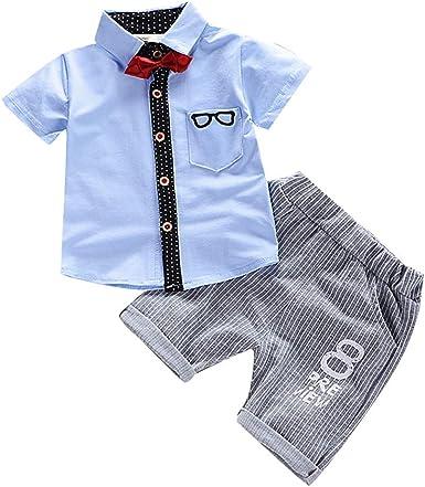 FELZ Conjuntos para Bebe Niños Estampada Camisa de Manga Corta Bebé Niño Caballero Bowtie de Verano y Pantalones Cortos Conjunto de Caballeros de Chico 6 Mes - 3 Años: Amazon.es: Ropa y accesorios