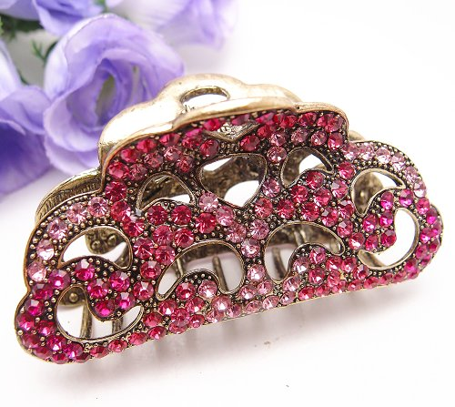 Fit long Hair New Vintage Hot pink color Swarovski Crystal Retro Copper Hair Claw Clip 812