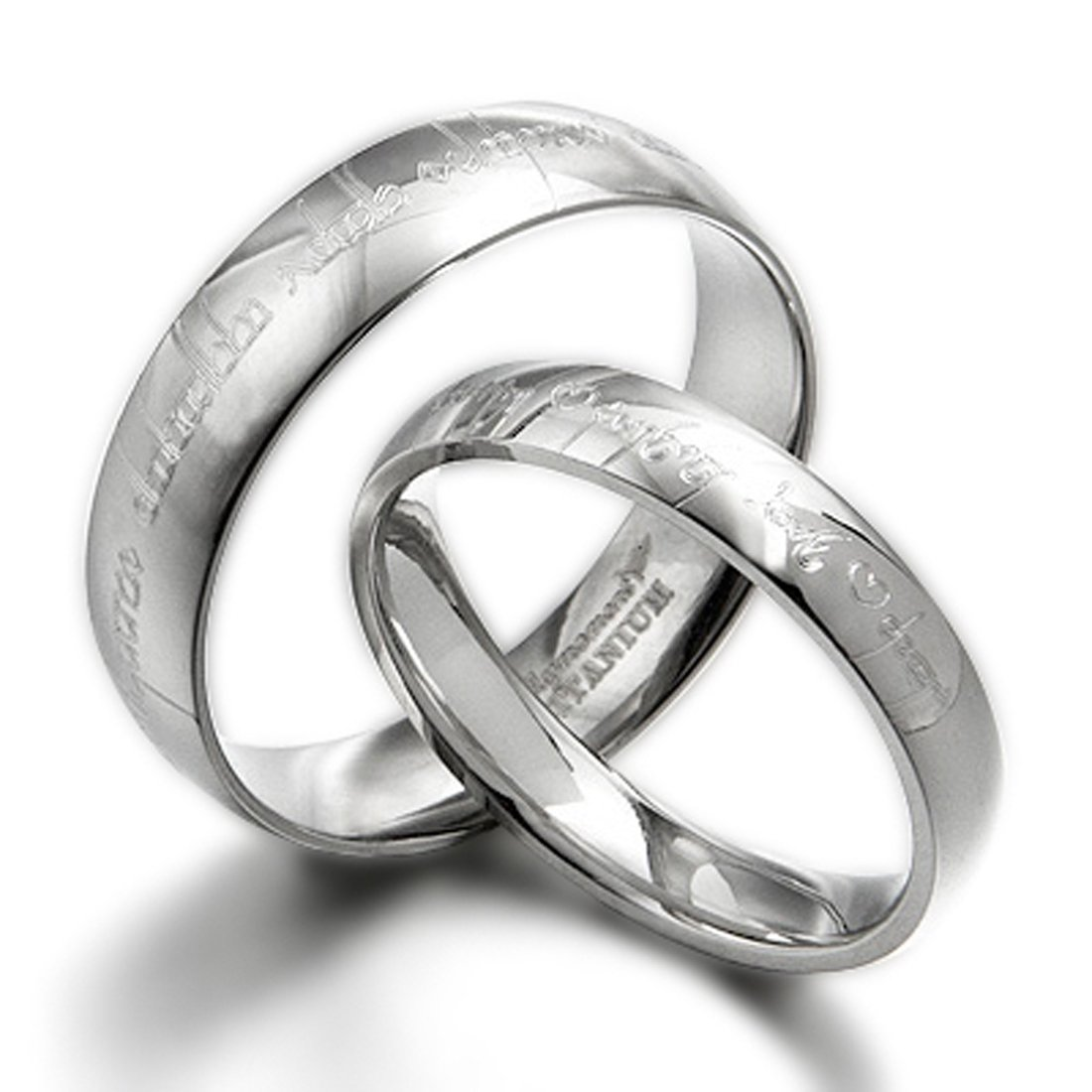 GeminiHis & Her Couple Personalized Elvish Tengwar Matching Wedding Titanium Rings Set, Dome Court, UK Size H to Z7