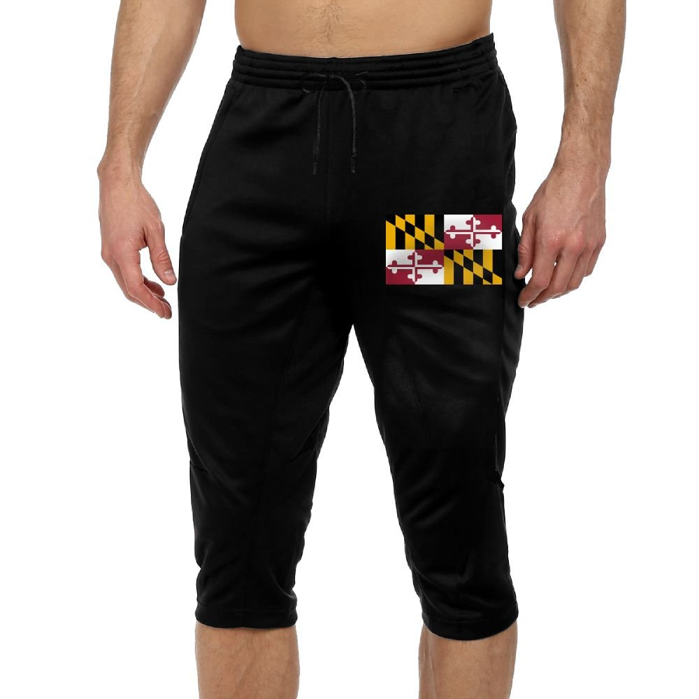 Men's Novelty Performance Maryland State Flag Print Crop Sweatpant Capri Pants Drawstring Knee Pant Black X-Large