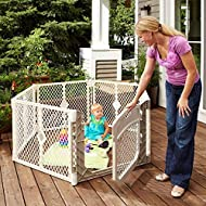 """North States Superyard Ultimate 6-Panel Play Yard: Safe Play Area for Indoors or Outdoors - Folds up with Carrying Strap for Easy Travel. Freestanding. 18.5 sq. ft. Enclosure (26"""" Tall, Ivory)"""