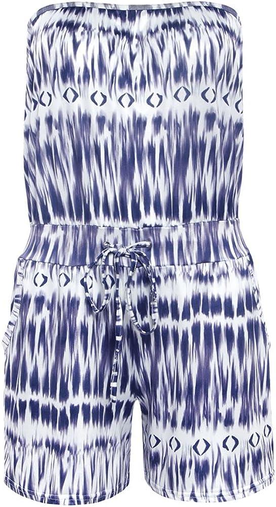 Starstreetcom Women Off Shoulder Strapless Tube Jumpsuit Floral Print Short Mini Summer Beach Jumpsuit Boho Romper Playsuit