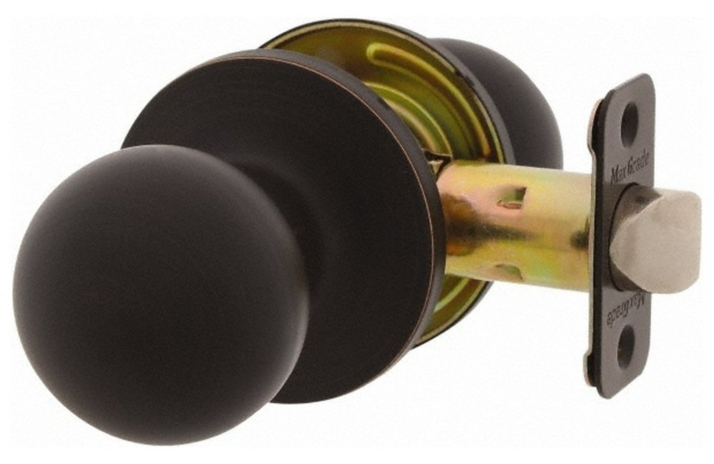1-3/8 to 1-3/4'' Door Thickness, Antique Bronze Passage Knob Lockset, 2-3/8 to 2-3/4'' Back Set, Zinc, No Cylinder