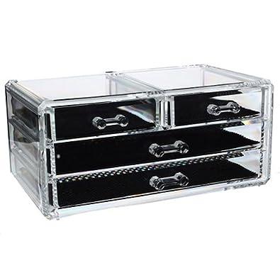 Compactor Bath RAN6044 Range Bijoux 6 Tiroirs Polystyr/ène et Tissu Transparent