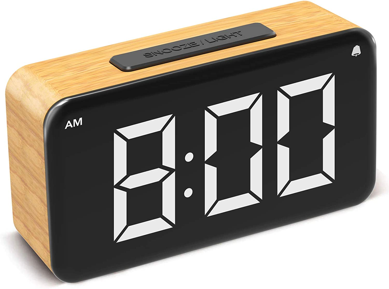 Alarm Clock Digital Clock Easy Use Clock With Snooze 6 Led Large Display Number 6 Brightness Dimmer Wood Grain Clock With Usb Charge Electric Beside Clocks For Home Bedrooms Desk Wood Kitchen Dining