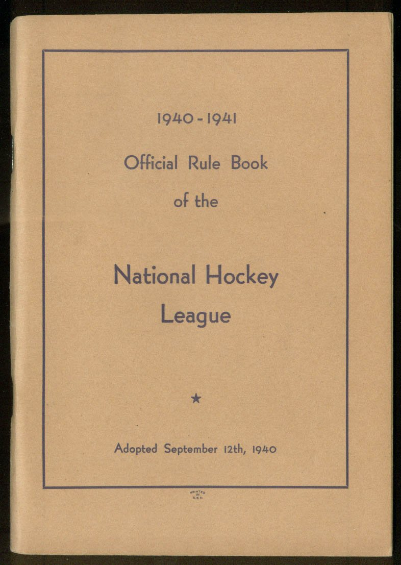 National Hockey League Official Rule Book 1940 1941 At Amazon S