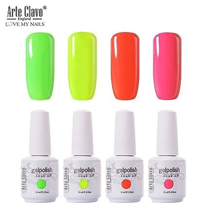 Arte Clavo Lot de 4 vernis à ongles gel UV LED 15 ml Couleurs fluo pastel