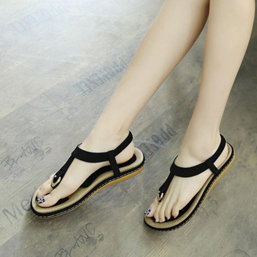 2591244c495a74 Luoluoluo Women s Flats Bohemian Ladies Sandals Rivet peep Toe Outdoor Shoes  Wide fit Sandals for Women  Amazon.co.uk  Shoes   Bags