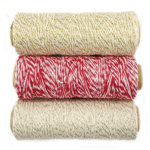 Wrapables 4-Ply Cotton Baker's Twine for Gift Wrapping and Arts and Crafts, 110-Yard Spool, Metallic Gold/Red/Metallic Silver, Set of 3