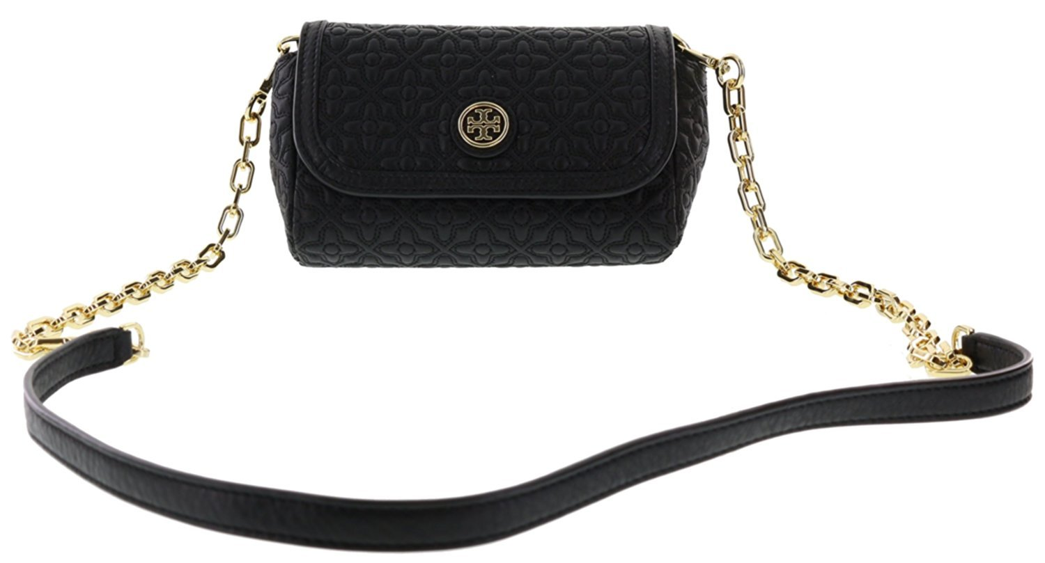 Tory Burch Bryant Quilted Leather Small Crossbody Handbag, Style No. 34029 (Black) by Tory Burch