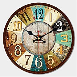 MEISTAR 16 Inch Wall Clock Silent Non Ticking Antique Vintage Rustic Colorful Tuscan Country Style Easy to Read Decoration Bar, Cafe