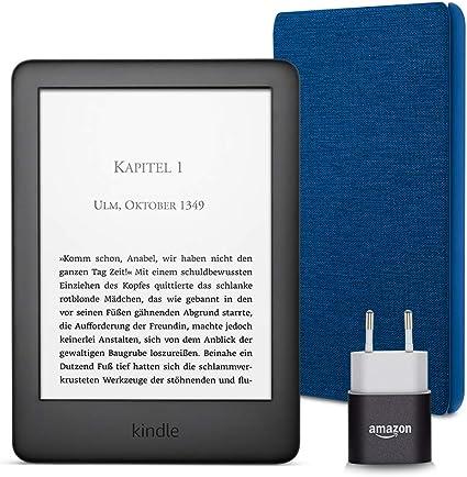 Kindle Essentials Bundle Mit Einem Kindle Schwarz Ohne Spezialangebote Einer Amazon Hülle Aus Stoff Blau Und Einem Amazon Powerfast 5 W Ladegerät Amazon Devices