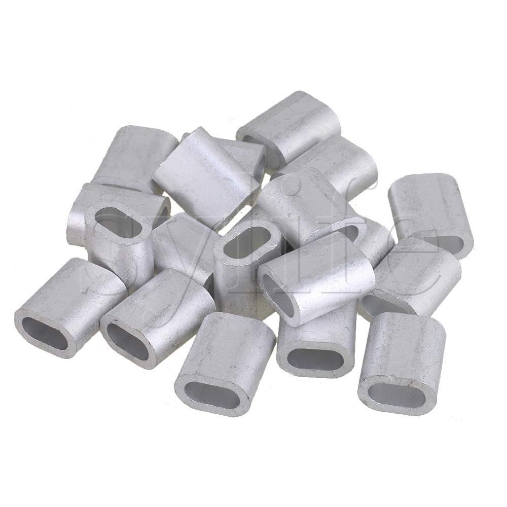 Fevas M8 Sliver Color Aluminum Clip Oval Wire Rope Ferrule Clamps Pack of 20