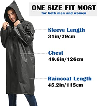 SinYong Disposable Rain Poncho for Adults 2 Pack Portable Unisex Lightweight Emergency Raincoats Clear Blue