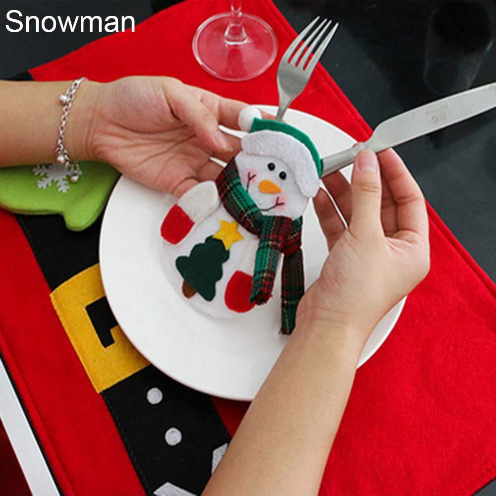 CHoppyWAVE Cutlery Pouch, Santa Snowman Cutlery Holder Utensil Bag Fork Knife Pocket Xmas Table Decor - Snowman