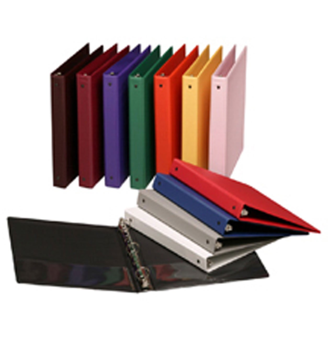 Assorted Colors 3-Ring View Binders, 2 inch Capacity, 8.5 x 11, Case of 11