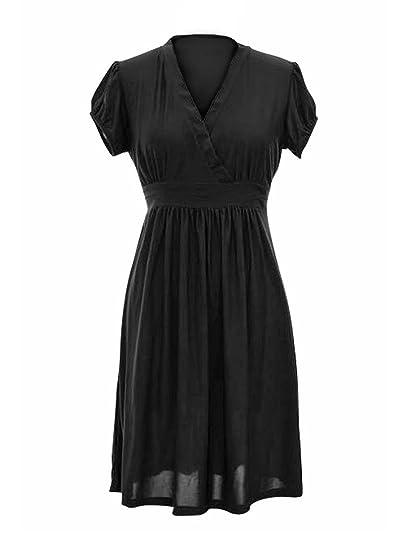 Luxury Divas Solid Black Empire Waist Dress With Short Gathered