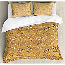 Ocean Decor Duvet Cover Set by Ambesonne, Pattern of Fish Shells Starfish Sea-Horse Water Creatures Sea Life Illustration, 3 Piece Bedding Set with Pillow Shams, King Size, Mustard Brown