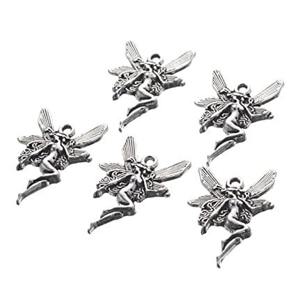 6a1109cb16615 Housweety 60PCs Silver Fairy Charms Pendants 21x15mm