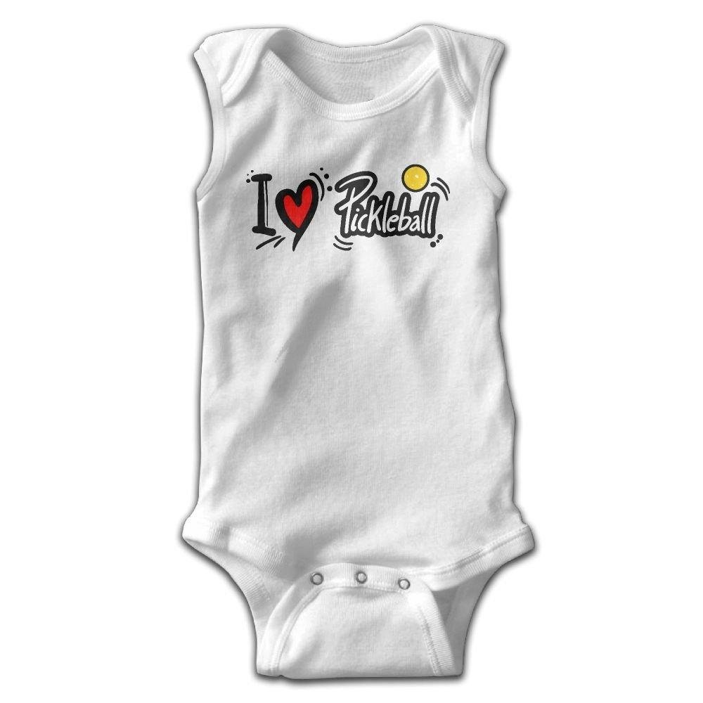 I Love Pickleball Baby Newborn Crawling Suit Sleeveless Onesie Romper Jumpsuit White
