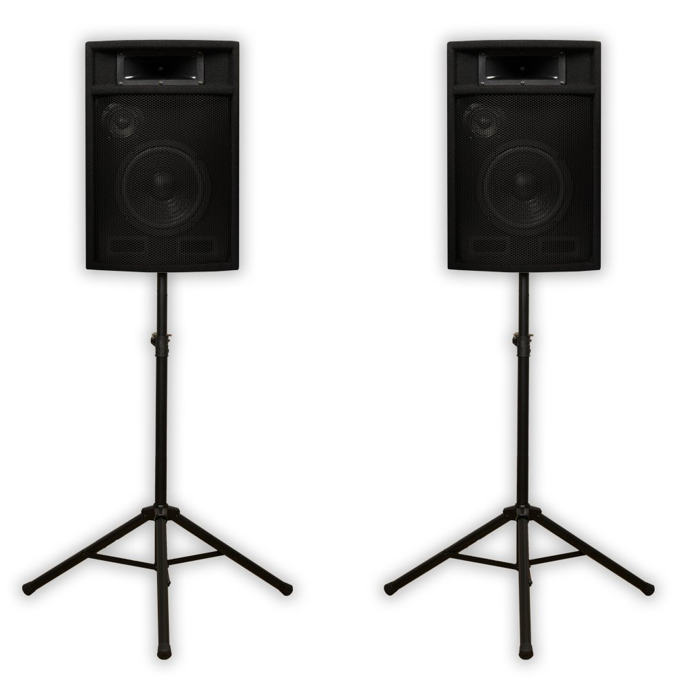 Acoustic Audio PA-380X Passive 8'' DJ Speakers and Stands PA Karaoke 3-Way Studio Home Audio by Acoustic Audio by Goldwood