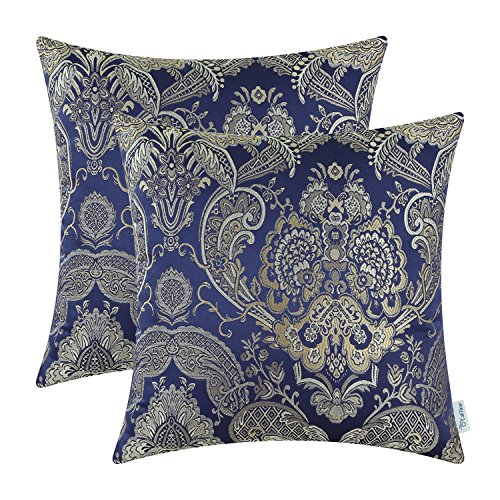 Pack of 2, CaliTime Supersoft Throw Pillow Covers Cases for Couch Sofa Home Decor, Vintage Damask Floral, 18 X 18 Inches, Navy Blue (Royal Blue Couch Pillows)