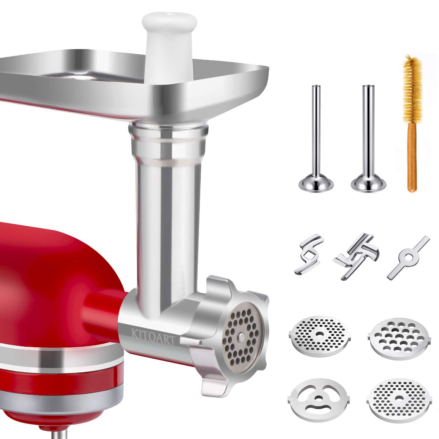 Metal Food Meat Grinder Attachments for KitchenAid Stand Mixers, KITOART Meat Grinder Attachment Compatible with KitchenAid Stand Mixers, including Sausage Stuffing Accessory, Cleaning Brush [ Newly Designed ] by KITOART