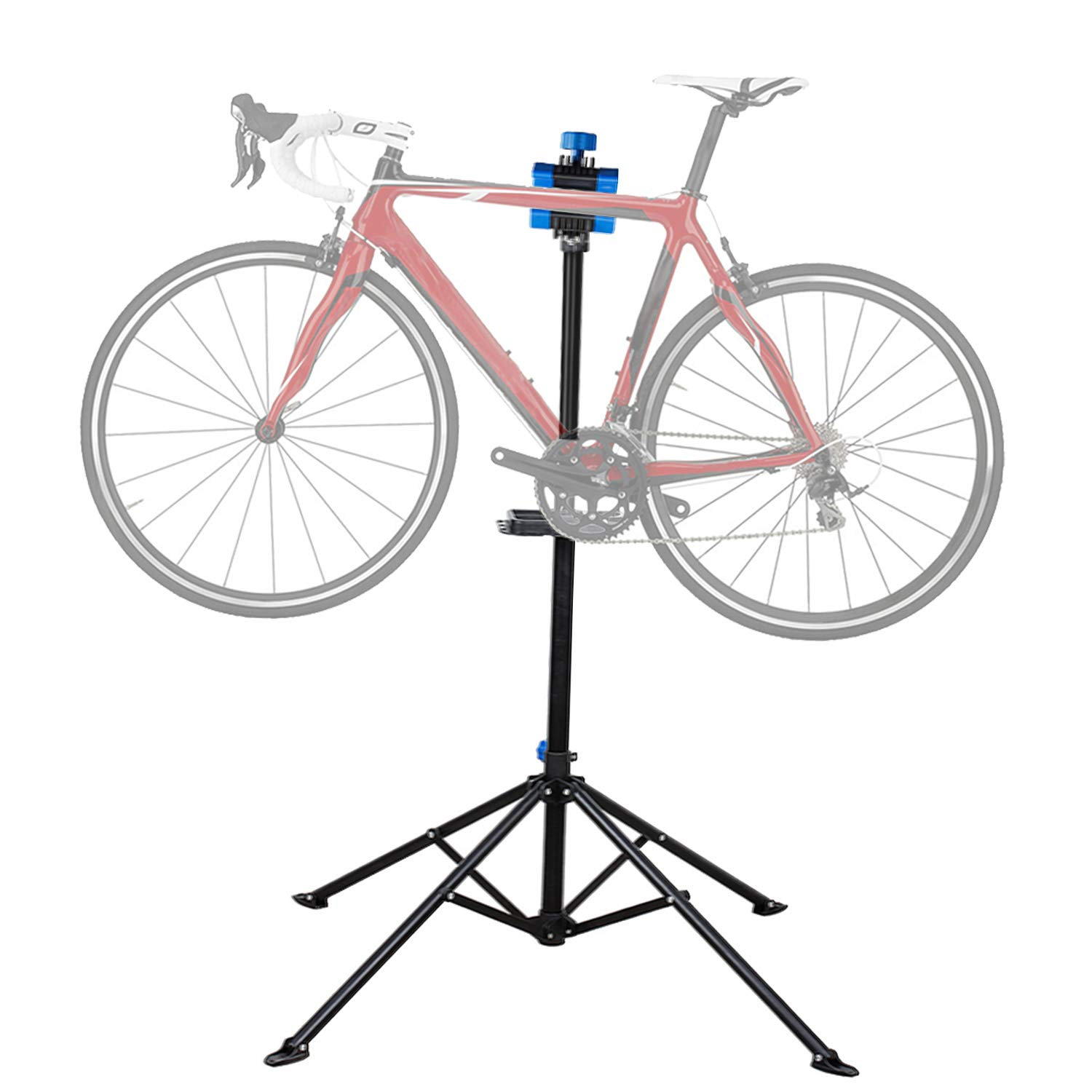 Flexzion Bike Repair Stand Workstation, Bicycle Maintenance Workstand, 41''-75'' Adjustable Foldable Cycle Rack, Lightweight, w/Tool Tray, Telescopic Arm & 4 Feet Base for Home Mechanic Workshop by Flexzion
