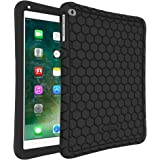 Fintie iPad 2017 9.7 Inch / iPad Air 2 / iPad Air Case - [Honey Comb Series] Light Weight Anti Slip Kids Friendly Shock Proof Silicone Protective Cover for Apple iPad 5th Gen, iPad Air 1 2, Black