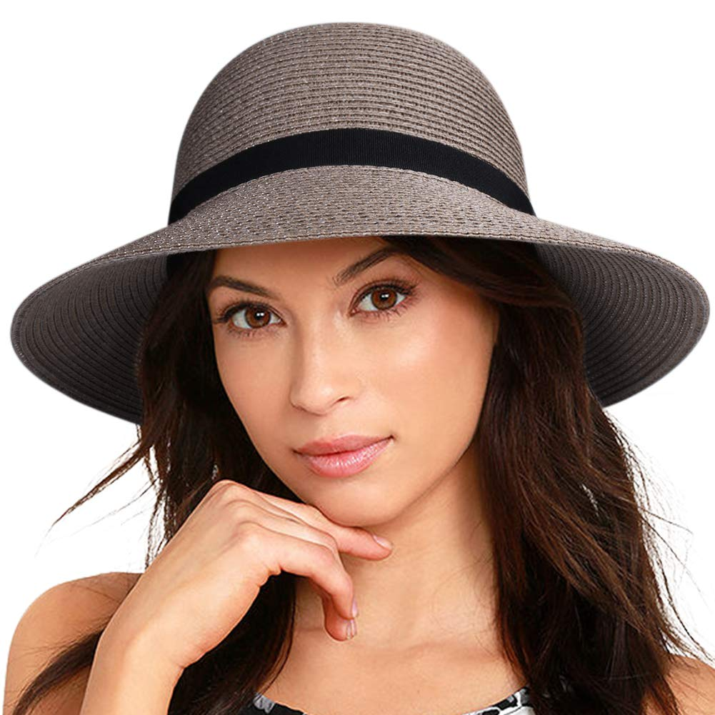 279d2e2efef FURTALK Women Wide Brim Sun Hat Summer Beach Cap UPF50 UV Packable Straw Hat  for Travel at Amazon Women's Clothing store: