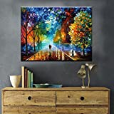 Haokuo Diy Oil Painting, Paint by Number Kit Theme-Romantic Street 16*20 inch (A Frameless)