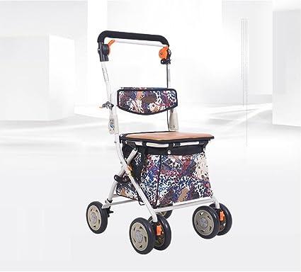 Carro de compras plegable para ancianos Carro de compras para cuatro ruedas Carro de ruedas ligero