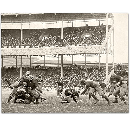 Lone Star Art 1916 Army-Navy game at the Polo Grounds Vintage Football Print - 11x14 Unframed Print - Perfect Football Locker Room Decor (White Football Vintage And Black)