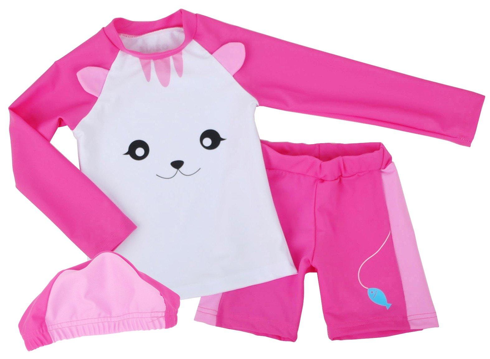 Ozkiz Girls Cat Rash Guard Shirts Pants Size 5