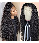 13x4 Deep Wave Frontal Wigs Human Hair Brazilian Human Hair Lace Front Wigs for Black Women 150% ...