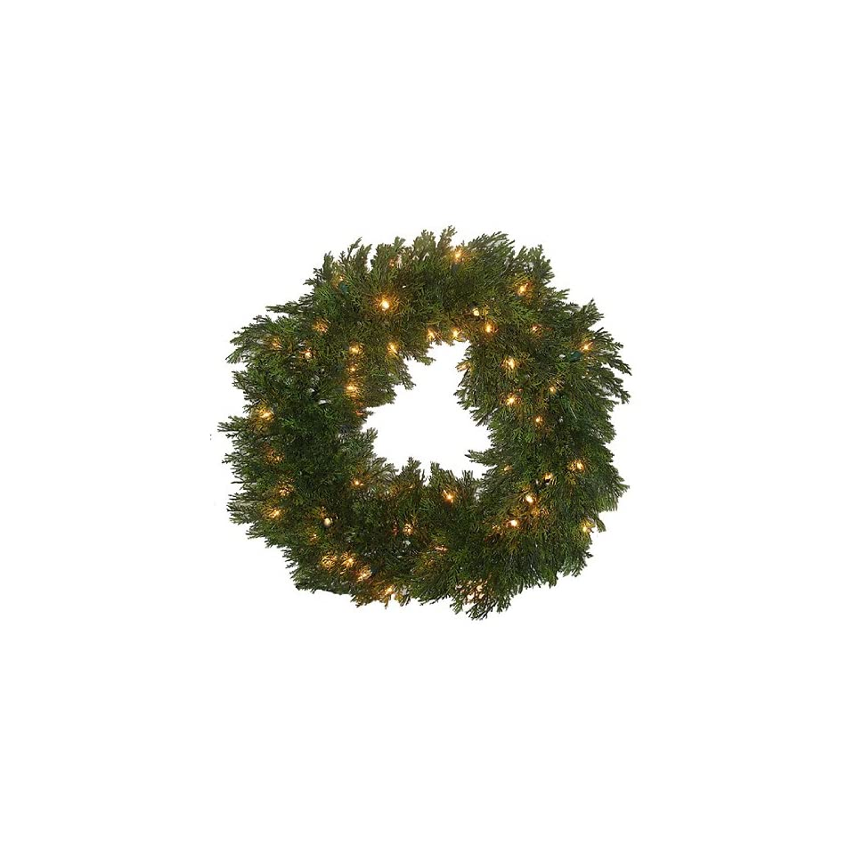 24 Pre Lit Full Cedar Pine Outdoor Christmas Wreath Clear Lights